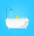cartoon bathtub with foam cute white tub shower vector image