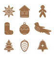 cartoon cookies christmas gingerbread set icon vector image vector image