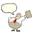 cartoon happy boss with file with speech bubble vector image vector image