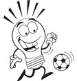 Cartoon light bulb playing soccer vector image vector image