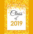 class 2019 poster with golden confetti glitter vector image vector image