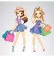 Cute Girls With Shopping Bags vector image vector image