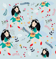 cute seamless pattern girl and wild flower vector image vector image