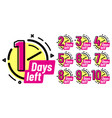 days left badges going countdown sign one day vector image