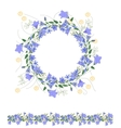 Detailed contour wreath and seamless pattern brush vector image