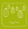 Easter eggs in doodle frame background vector image vector image