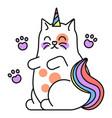 fantasy cat icon colorful watercolor vector image vector image
