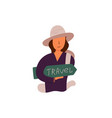 flat banner travel time girl in brown hat vector image vector image