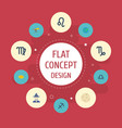 flat icons comet augur goat and other vector image vector image