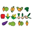 Flat icons of fresh vegetables vector image vector image