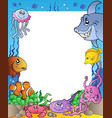 frame with sea fishes 1 vector image