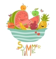 Funny cartoon fruits vector image