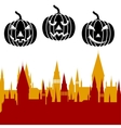 Halloween pumpkin and castle tower vector image