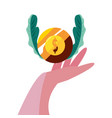 hand with coin dollar vector image