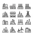industrial building factory icon set in thin vector image vector image