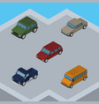 isometric car set of car suv auto and other vector image vector image