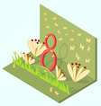 Isometric card with the number eight flowers vector image vector image