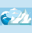 large antarctic frozen iceberg floating in water vector image