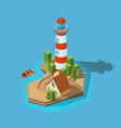lighthouse isometric sea ocean boat beach small vector image