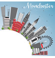 manchester england city skyline with gray vector image vector image