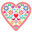 mexican heart folk design valentines day vector image