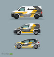 mocup set with advertisement on white car cargo vector image vector image