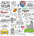 new york city doodles elements hand drawn set vector image vector image