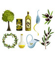 organic olive products set oil elements fresh vector image vector image