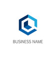 polygone line data business logo vector image vector image
