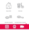 Real estate fire hose and gas counter icons vector image vector image