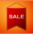 red pennant with inscription sale over a orange vector image