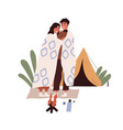 romantic love couple on camping tourists hugging vector image vector image