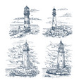 sketches with lighthouse on island at sea or ocean vector image vector image