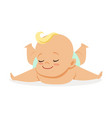 sweet little baby lying on his stomach colorful vector image