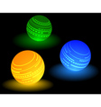 three multi colored ball vector image vector image