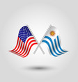 two crossed american and uruguayan flags vector image vector image