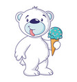 white bear with ice cream icon cartoon style vector image vector image