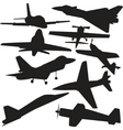 set vector silhouette of airplanes vector image