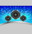 abstract musical with speakers on blue background vector image