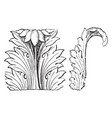 acanthus leaf front and side views vintage vector image vector image