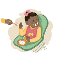 African american baby girl refuses to eat pap vector image vector image