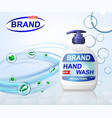 antibacterial hand gel wash ads dispenser bottle vector image