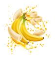 banana bunch peeled rings juice flow vector image vector image