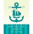 banner with anchor and sailing boat vector image