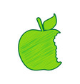 bited apple sign lemon scribble icon on vector image