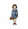 business lady with briefcase flat icon clip art vector image