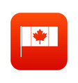 canada flag with flagpole icon digital red vector image vector image