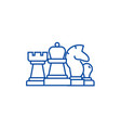 chess horse rook pawn queen line icon concept vector image vector image