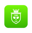 coat of arms of tennis club icon digital green vector image