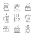 coffee maker pot espresso icons set outline style vector image vector image